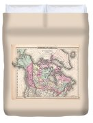 1857 Colton Map Of Canada And Alaska Duvet Cover