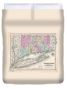 1857 Colton Map Of Connecticut And Long Island Duvet Cover