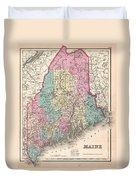 1857 Colton Map Of Maine Duvet Cover