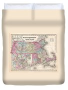 1857 Colton Map Of Massachusetts And Rhode Island Duvet Cover