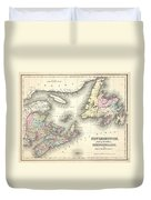 1857 Colton Map Of New Brunswick And Newfoundland Canada Duvet Cover