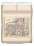 1857 Colton Map Of New York Duvet Cover