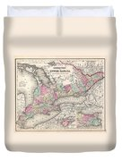 1857 Colton Map Of Ontario Canada Duvet Cover