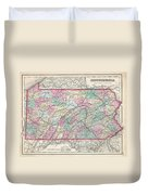 1857 Colton Map Of Pennsylvania Duvet Cover
