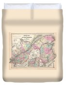 1857 Colton Map Of Quebec And New Brunswick Canada Duvet Cover