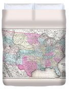1857 Colton Map Of The United States  Duvet Cover