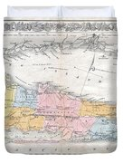 1857 Colton Travellers Map Of Long Island New York Duvet Cover