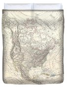 1857 Dufour Map Of North America Duvet Cover