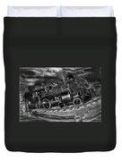 1862 Gov. Stanford First Locomotive Black And White Duvet Cover