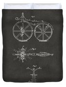 1866 Velocipede Bicycle Patent Artwork - Gray Duvet Cover