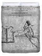 1869 Life Preserver Patent Charcoal Duvet Cover