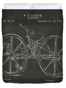 1869 Velocipede Bicycle Patent Artwork - Gray Duvet Cover by Nikki Marie Smith