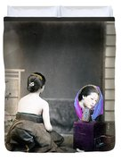 1870 Japanese Woman In Her Dressing Room Duvet Cover