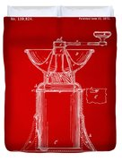 1873 Coffee Mills Patent Artwork Red Duvet Cover