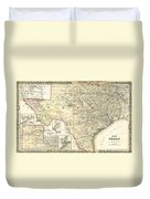 1873 Texas Map By Colton Duvet Cover