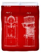 1876 Beer Keg Cooler Patent Artwork Red Duvet Cover