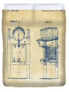1876 Beer Keg Cooler Patent Artwork - Vintage Duvet Cover