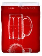 1876 Beer Mug Patent Artwork - Red Duvet Cover