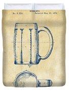 1876 Beer Mug Patent Artwork - Vintage Duvet Cover