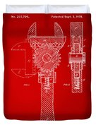 1878 Adjustable Wrench Patent Artwork - Red Duvet Cover