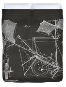 1879 Quinby Aerial Ship Patent Minimal - Gray Duvet Cover by Nikki Marie Smith