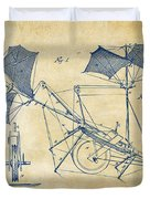 1879 Quinby Aerial Ship Patent Minimal - Vintage Duvet Cover