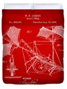 1879 Quinby Aerial Ship Patent - Red Duvet Cover