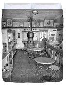 1880 Drug Store Black And White Duvet Cover