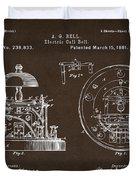 1881 Alexander Graham Bell Electric Call Bell Patent Espresso Duvet Cover