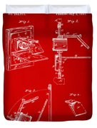 1881 Taylor Camera Obscura Patent Red Duvet Cover