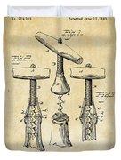 1883 Wine Corckscrew Patent Art - Vintage Black Duvet Cover