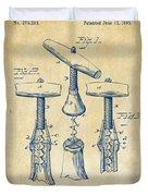 1883 Wine Corckscrew Patent Artwork - Vintage Duvet Cover