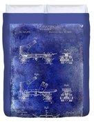 1885 Roller Skate Patent Drawing Blue Duvet Cover