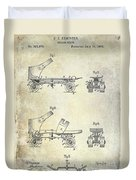 1885 Roller Skate Patent Drawing Duvet Cover