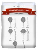 1886 Tennis Racket Patent Drawing - Retro Red Duvet Cover