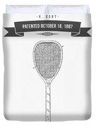 1887 Tennis Racket Patent Drawing - Retro Gray Duvet Cover