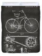 1890 Bicycle Patent Artwork - Gray Duvet Cover