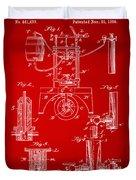 1890 Bottling Machine Patent Artwork Red Duvet Cover