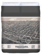 Vintage Perspective Map Of Texarkana Duvet Cover