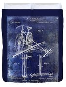 1891 Bicycle Patent Drawing Blue Duvet Cover