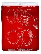 1891 Police Nippers Handcuffs Patent Artwork - Red Duvet Cover