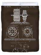 1891 Tesla Electro Magnetic Motor Patent Espresso Duvet Cover