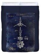 1892 Motorcycle Helmet Spike Patent Drawing Blue Duvet Cover