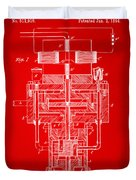 1894 Tesla Electric Generator Patent Red Duvet Cover by Nikki Marie Smith