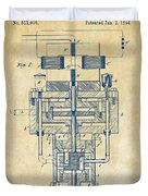 1894 Tesla Electric Generator Patent Vintage Duvet Cover by Nikki Marie Smith