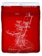 1896 Dental Chair Patent Red Duvet Cover