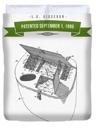 1896 Fishing Basket Patent Drawing - Green Duvet Cover
