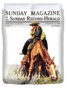 1900s Sunday Magazine Cover Lone Cowboy Duvet Cover