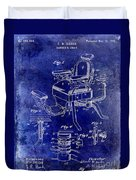 1901 Barber Chair Patent Drawing Blue Duvet Cover