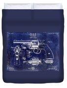 1903 Colt Revolver Patent Drawing Blue Duvet Cover